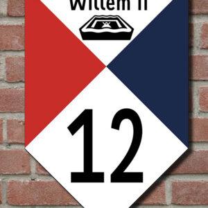 Muurschildjes Willem II ij de tricolore. Met of zonder huisnummer. Voor zien van Stadion. En tekst en pictorgtam van TilburgSans. HB-Webshop.com onderdeel van HB-Creations Tilburg Reeshof.